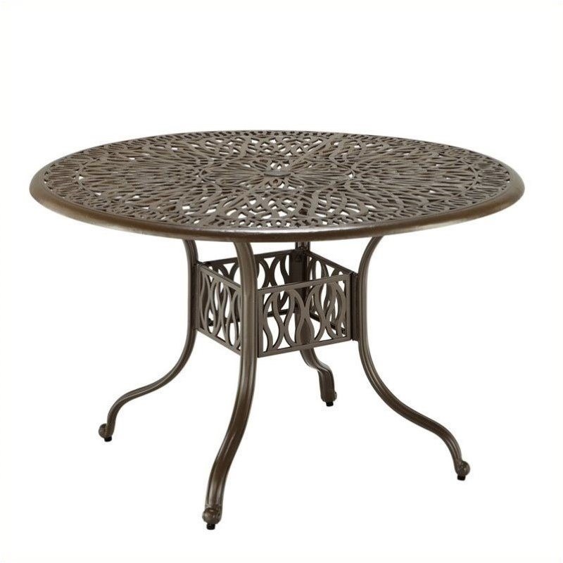 Round Patio Dining Table In Taupe, 42 Patio Table
