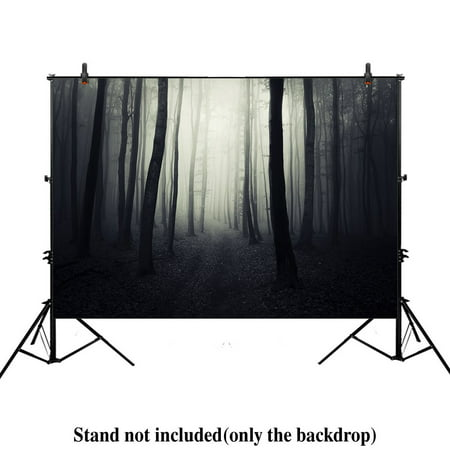 GreenDecor Polyster 7x5ft photography backdrop background halloween woods horror scary night ghost dark path trough forest foggy trees props photo studio booth (Scary Halloween Desktop Backgrounds)