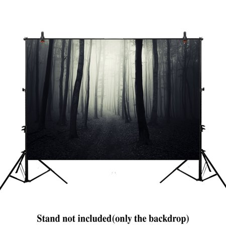 GreenDecor Polyster 7x5ft photography backdrop background halloween woods horror scary night ghost dark path trough forest foggy trees props photo studio booth