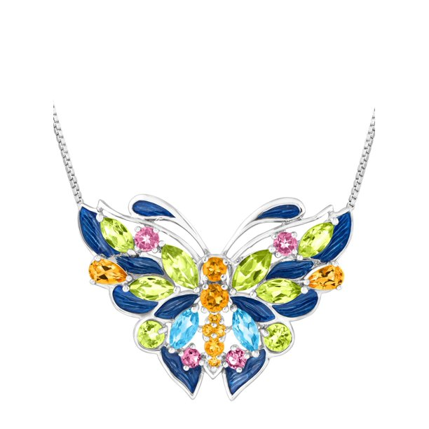 4 1/6 ct Natural Peridot, Citrine, Swiss Blue Topaz, Pink Tourmaline Butterfly Pendant Necklace in Silver, 18""