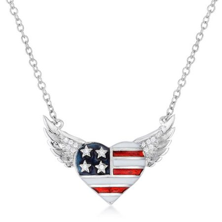 0.14 CT Patriotic Winged Heart Necklace with Cubic Zirconia Accents - Multicolors](Patriotic Jewelry)