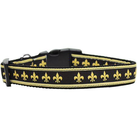 Black And Gold Fleur De Lis Nylon Cat Collar (Black Cat Items)
