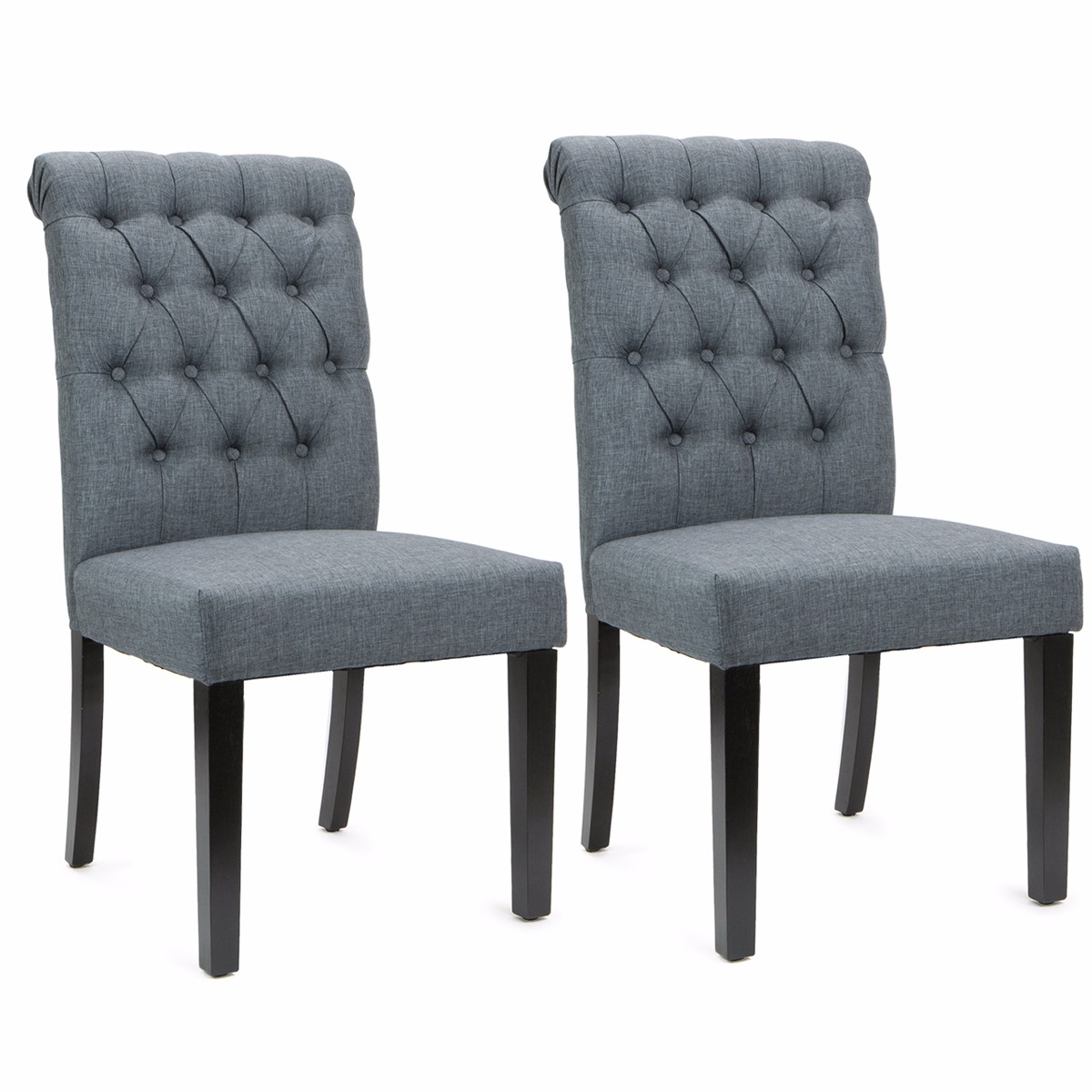 Sef of 2 Elegant Tufted Padded Victorian Dining Chair Set, Grey