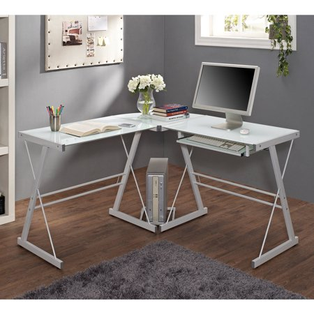 Walker Edison Glass and Metal L-Shaped Computer Desk - White 3 Piece Glass Desk