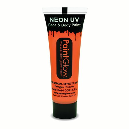 PaintGlow Neon UV Reactive Face & Body Paint 10ml Liquid Makeup, Neon Orange - Simple Halloween Face Paint Male