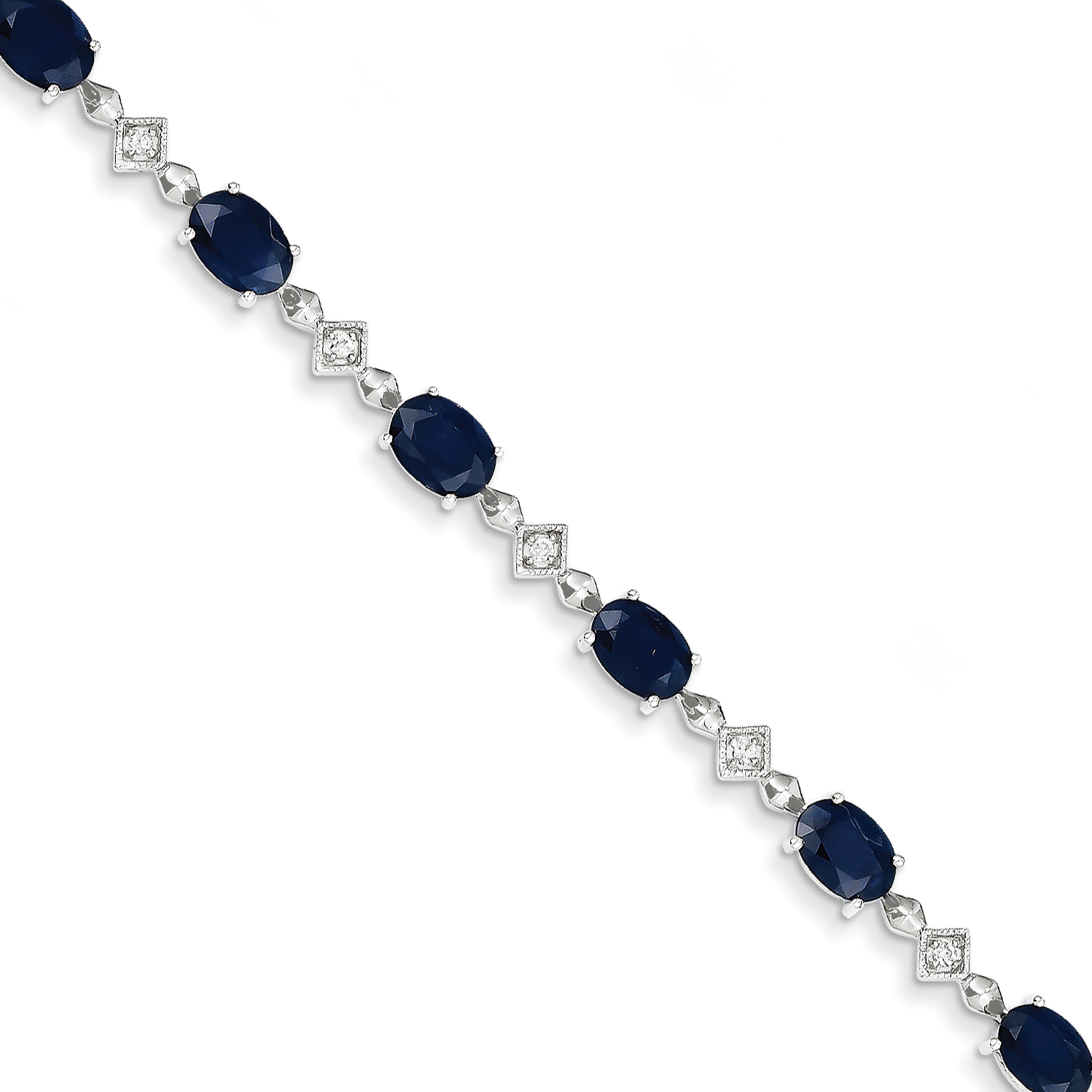 14K White Gold Diamond and Sapphire Bracelet by Saris and Things QG