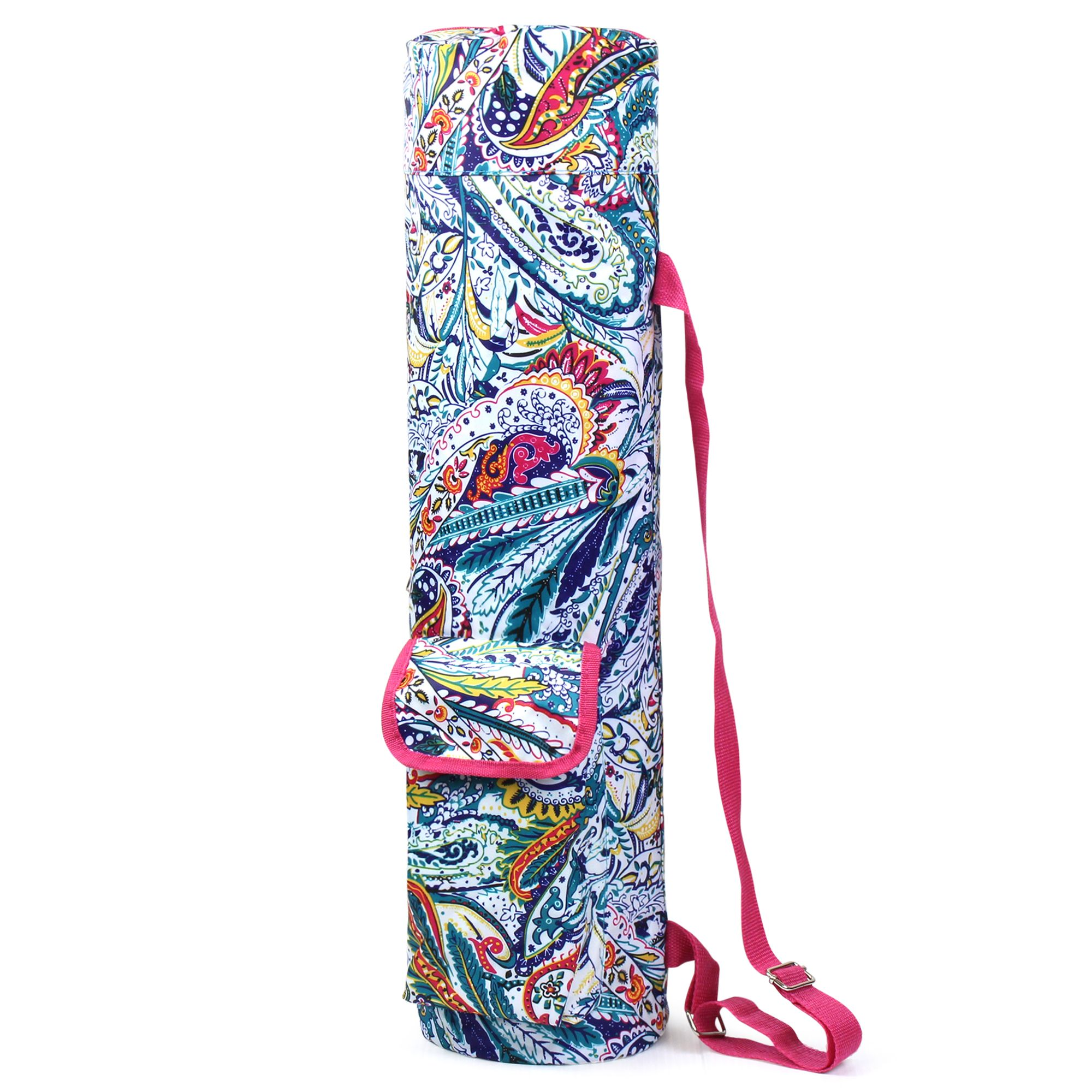 Lightweight Durable Full-Zip Yoga Mat Sports Bag by Zodaca with Pocket & Adjustable Shoulder Strap - Multicolor Paisley