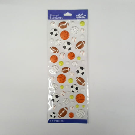 Wilton Classic Puffy Sports balls Stickers, 53 Piece](Sports Stickers)