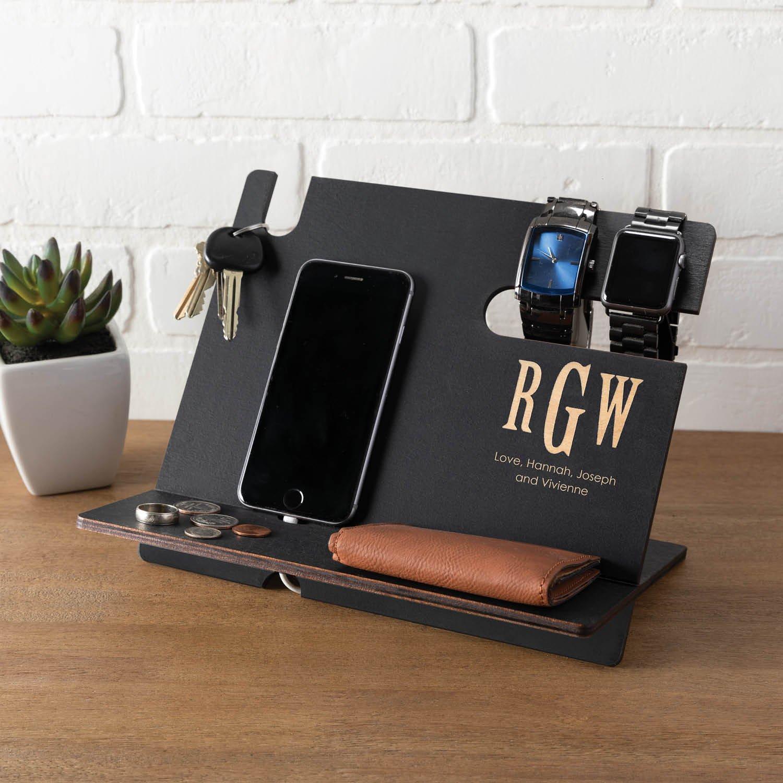 Personalized Black Wood Desk Organizer