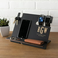 Personalized Black Wood Desk Organizer