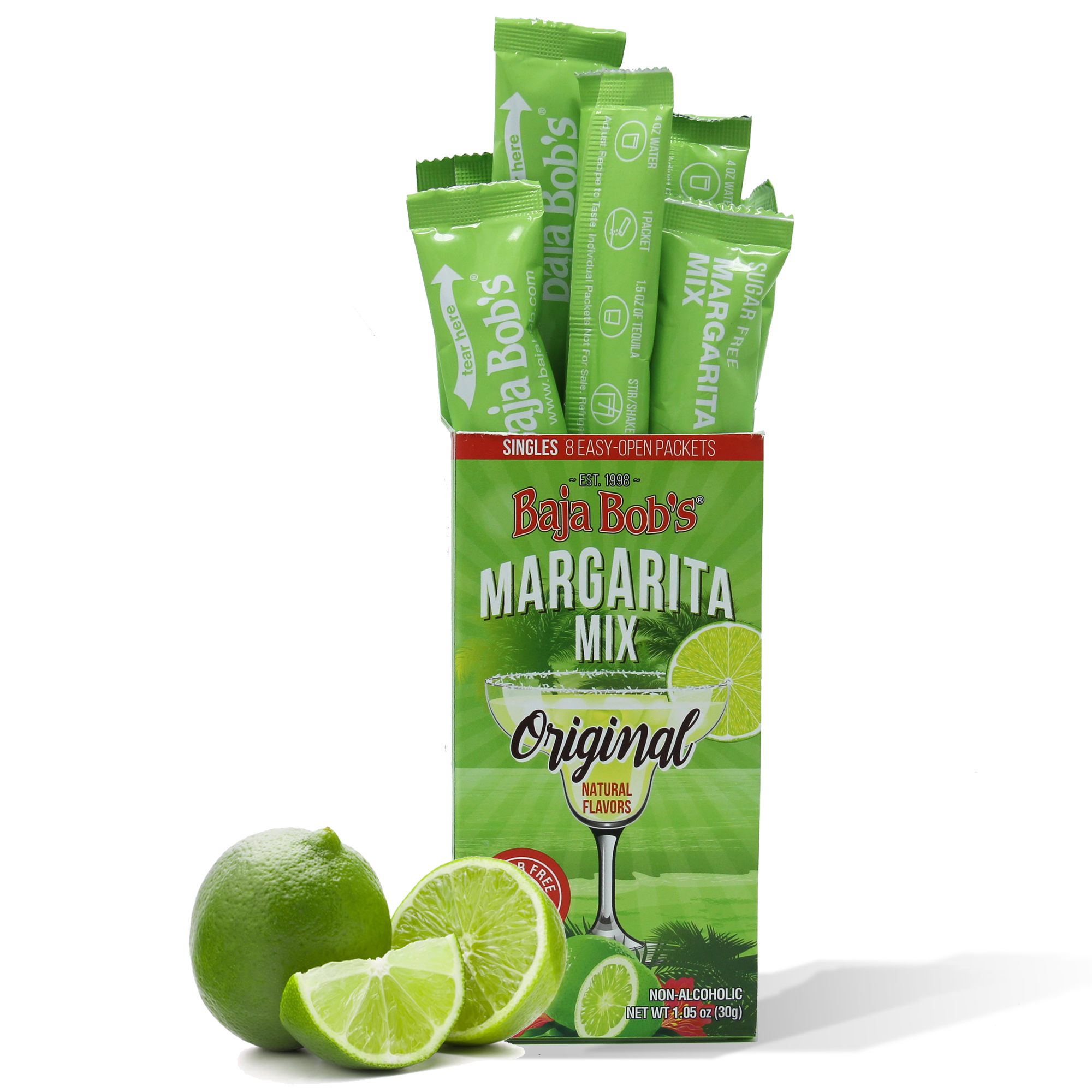 Baja Bob's Sugar Free Original Margarita Mix Singles 8 Single-Serve Cocktail Mix Packets by