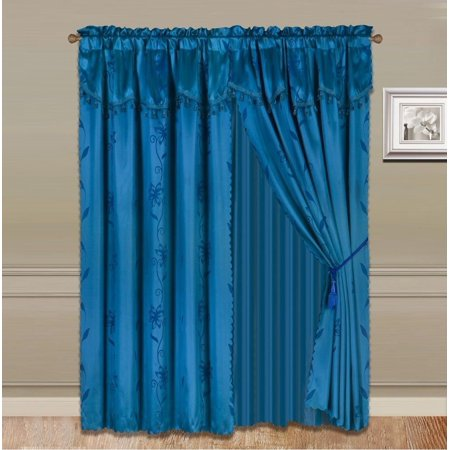 8 Piece Teal Blue Nada Luxury Faux Jacquard Floral Design Panel  Rod Pocket Window Curtain Set Attached Valance  Panel  And Sheer  Includes 2 Tie Backs