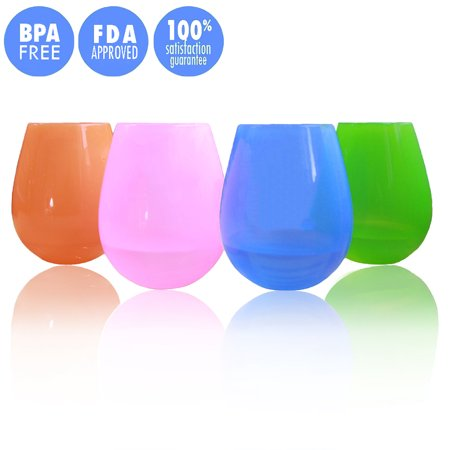 Kuke 4pcs Silicone Wine Glasses Cup Unbreakable Drinking Beer Cup - Custom Drinking Glasses