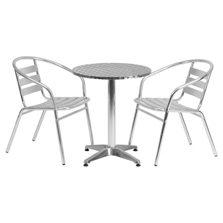 Aluminum Slat Table - Flash Furniture 23.5'' Round Aluminum Indoor-Outdoor Table with 2 Slat Back Chairs
