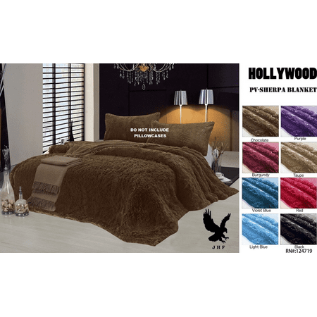 Hollywood Queen Size Reversible Faux Fur Sherpa Soft Bed