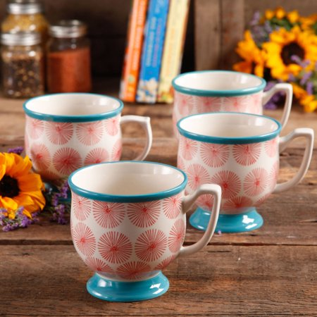 The Pioneer Woman Flea Market Happiness 15 oz Decorated Mugs, Set of