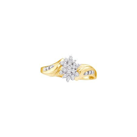 10kt Yellow Gold Womens Round Diamond Cluster Ring 1/8 Cttw ()