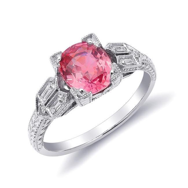 Precious Stars JJ1206-sz6.5 Platinum 1.77 Carat TGW Certified Padparadscha Sapphire & White Diamond One of a Kind Ring - Size 6.5 - image 1 de 1