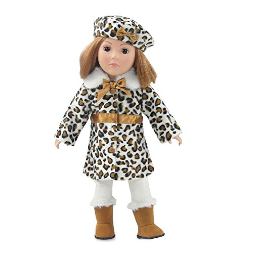18 Inch Doll Clothes | Chic 5-Piece Faux Leopard Coat Jacket Outfit, Including Matching... by Emily Rose Doll Clothes