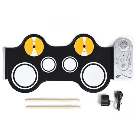 Costway Roll Up Drum 6 Pads Kid's Electronic Drum Set w/Build-in Speaker & Drum Sticks ()