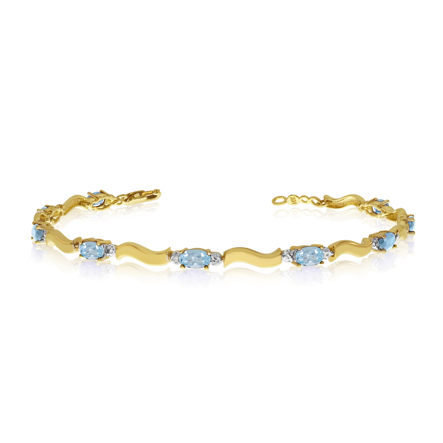 10K Yellow Gold Oval Aquamarine and Diamond Bracelet by