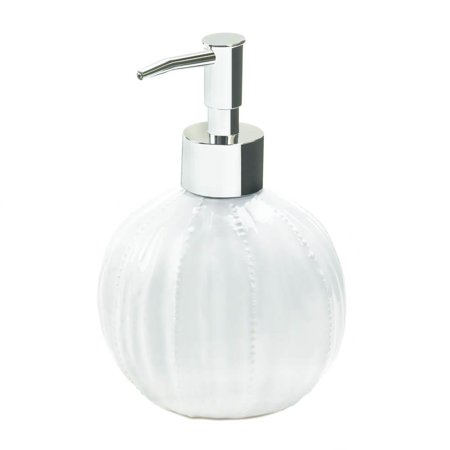 Hand Soap Dispenser Bottle Pure Round Kitchen Ceramic White Pump