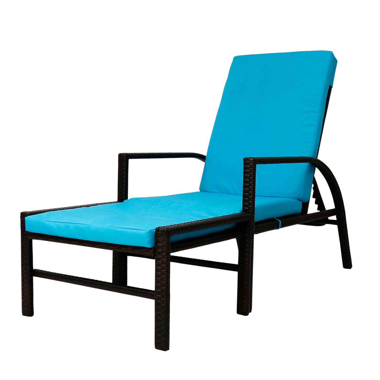 Kinbor Outdoor/Indoor Patio Adjustable Brown PE Wicker Pool Garden Balcony Beach Chaise Lounge Chair Furniture Footrest w/Blue Cushion