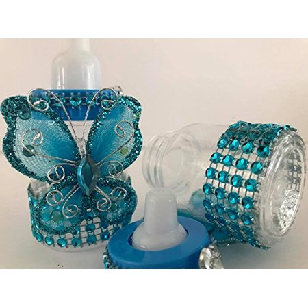 10 Turquoise Fillable Butterfly Bottles Baby Shower Favors Prizes Girl Boy - Baby Shower Butterfly Theme