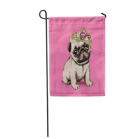 SIDONKU Puppy Chihuahua in a Princess Crown on Pink Background Vector Garden Flag Decorative Flag House Banner 12x18 inch - A Princess Crown