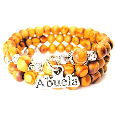 Wood Wrap Bracelet - Abuela Grandmother Natural Wood Wrap Bracelet, One Size Fits All, Chubby Chico Charms Exclusive