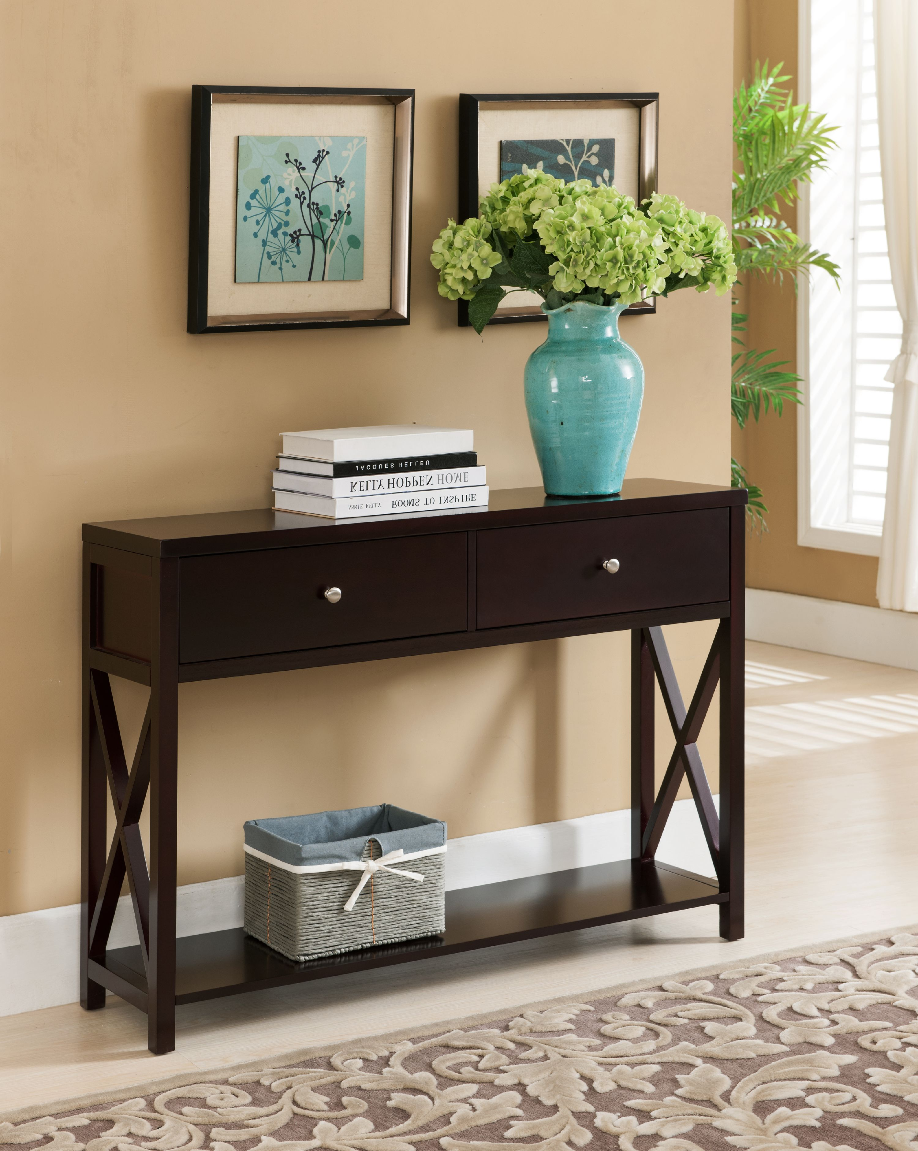 Dark Cherry Wood Occasional Entryway Console Sofa Table With Storage Drawers & Shelf by unknown