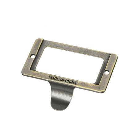 Label Holder Pull Handles, Vintage Zinc Alloy Label Frame Drawer Knobs for Cabinet Cupboard, Bronze Tone 59x44mm 5 Pcs w - image 2 de 3