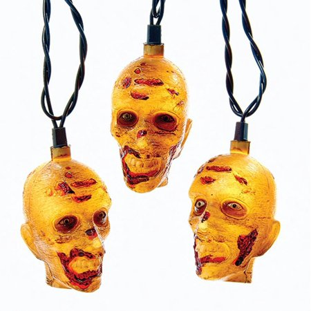 Clear Zombie Head Halloween Themed Party Decorative Light Set 12'