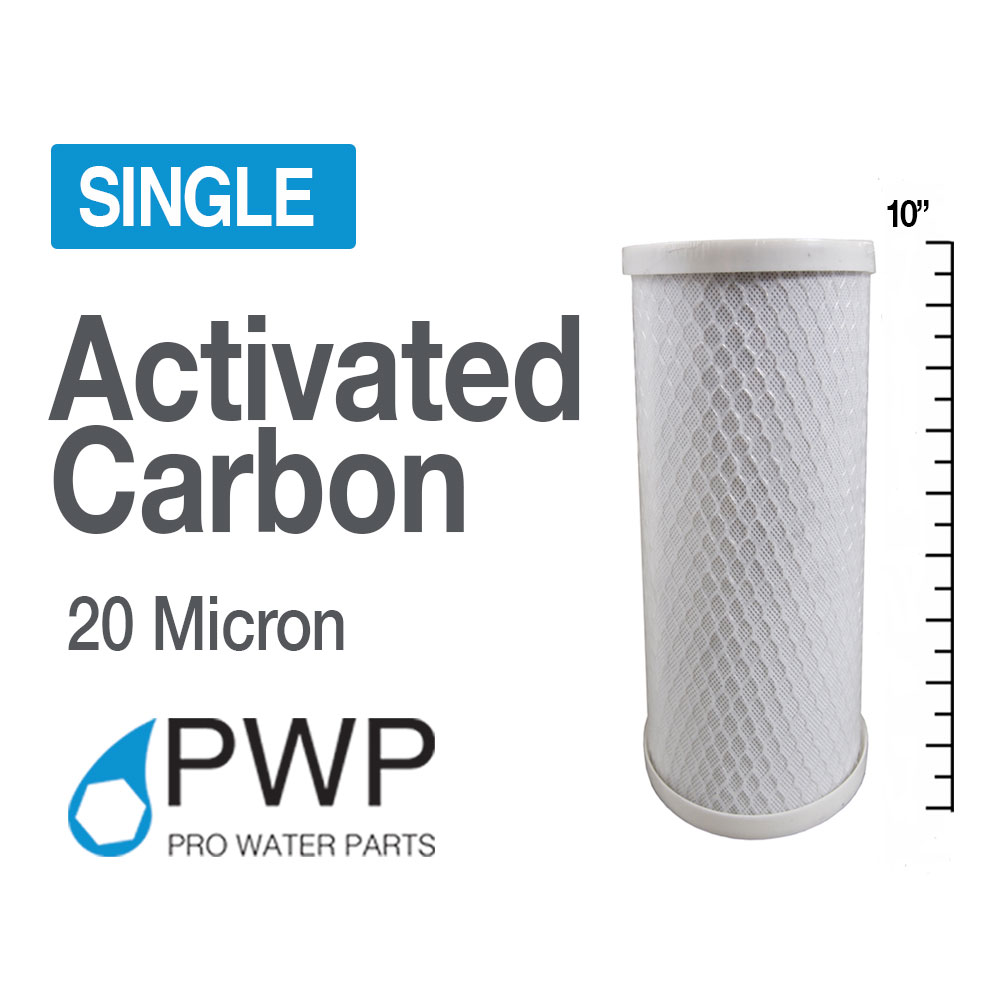 4.5 x 10 In Carbon Block  Water Filter Whole House RO CTO 20 Micron