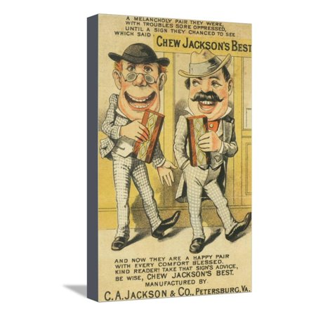 Jackson's Best Chew Advertisement, Happy Pair of Men - Petersburg, VA Stretched Canvas Print Wall Art By Lantern