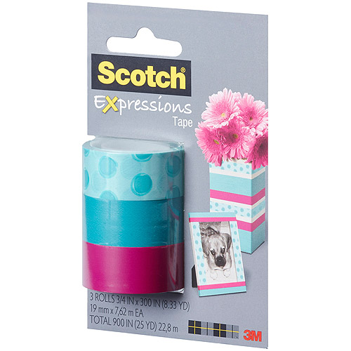 "Scotch Expressions Magic Tape, 3/4"" x 300"", Assorted Circles, 3 Pack"