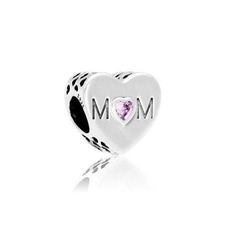 Pandora Mother Heart Charm with Purple Cubic Zirconia
