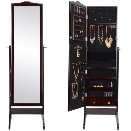 Sortwise Jewelry Armoire Lockable Mirror Cabinet Cosmetic Storage Organizer Brown Image 4