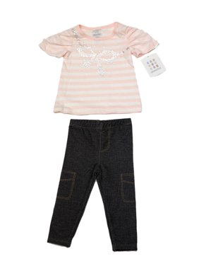 ABSORBA Toddler Girl's Pink Striped Bow Two-Pc Outfit  12M 18M 24M  AVIG5868