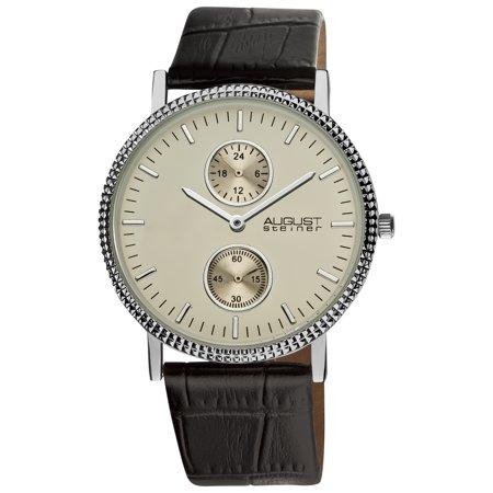 Men's GMT Leather Silver-Tone Strap Quartz Watch Gmt Quartz Watch