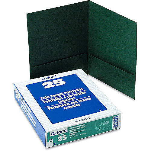 """Oxford Paper Twin-Pocket Portfolio, Tang Clips, Letter, 1/2"""" Capacity, 25/Box - Available in Multiple Colors"""