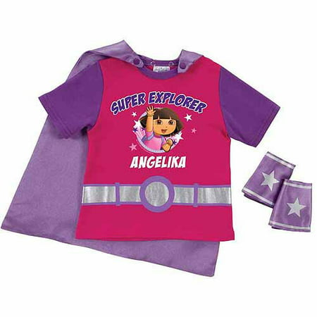 Personalized Dora the Explorer Super Explorer Toddler Girl Pink Super Tee and Cuffs Dora The Explorer Clothes