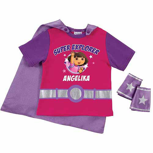 Personalized Dora the Explorer Super Explorer Toddler Girl Pink Super Tee and Cuffs