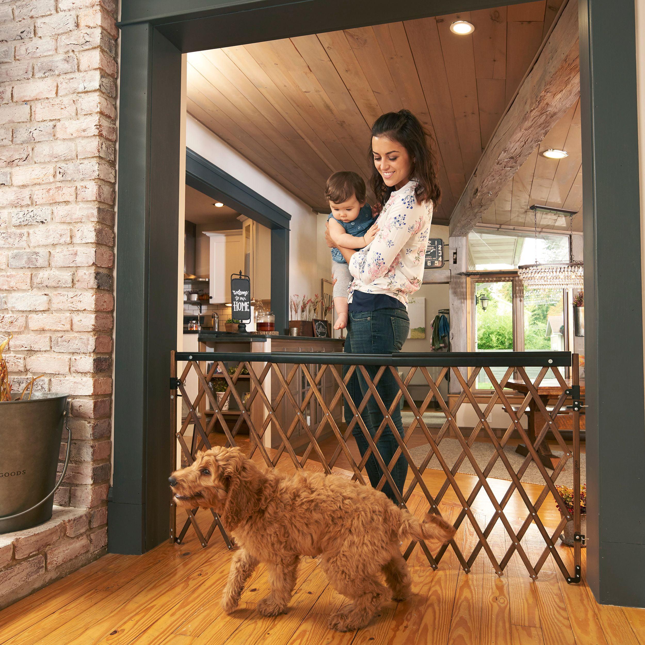 Pet Baby Gate Expansion Walk Thru Room Divider Gate