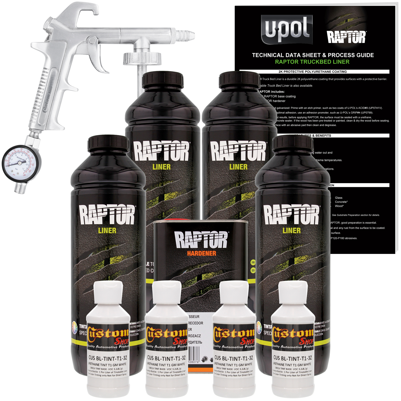 Raptor GM White Urethane Spray-On Truck Bed Liner Spray Gun, 4 Liters