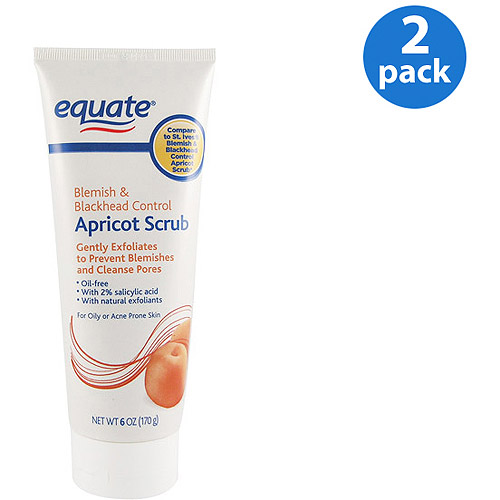 Equate Acne Medication Oily Skin Medicated Apricot Scrub 6 oz (Pack of 2)