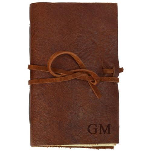 Custom Genuine Rustic Leather-Bound Mini Journal