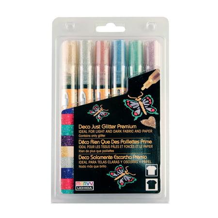 Marvy Uchida Deco Just Glitter Premium Fabric Paint Pen Set, 6 Piece