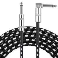 EEEkit Guitar Cable 6.6 ft, Premium Electric Instrument Bass Cable AMP Cord 1/4 Right Angle to Straight Black White