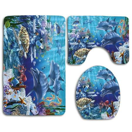 GOHAO Sea Life Turtle Fish 3 Piece Bathroom Rugs Set Bath Rug Contour Mat and Toilet Lid Cover ()